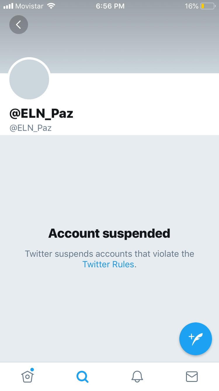 Twitter screenshot showing ELN suspension